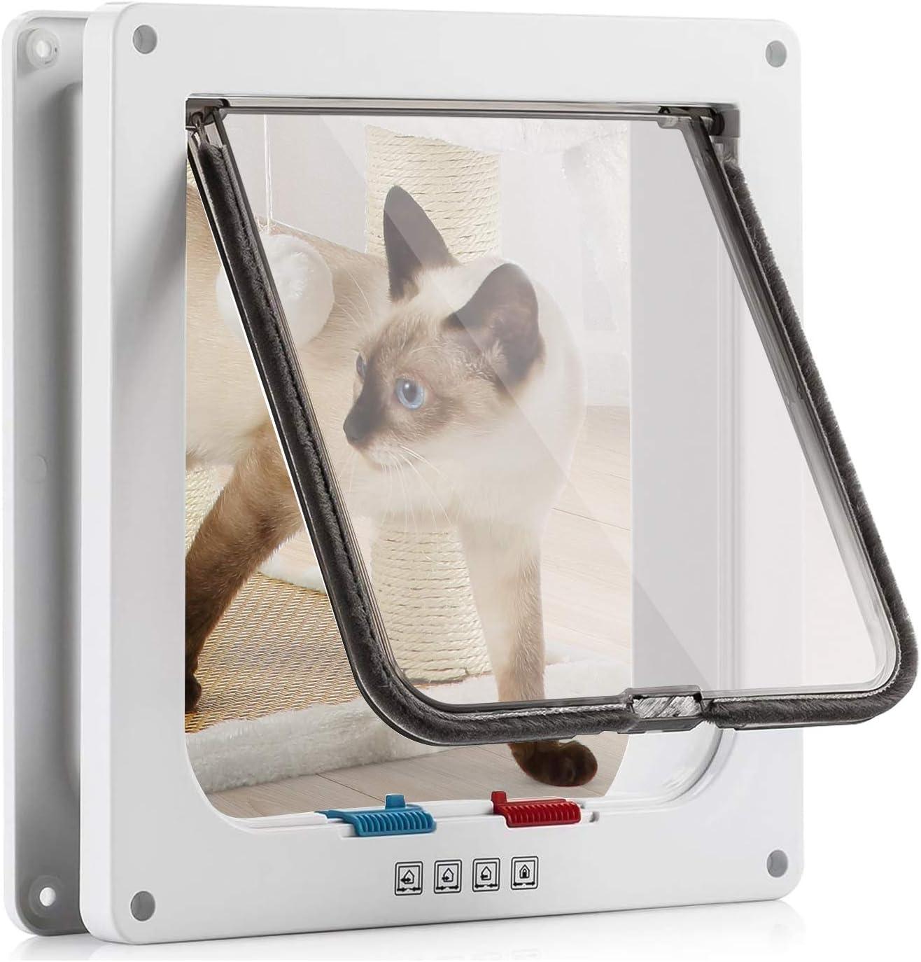Puerta para Gato con Cierre magnético de 4 vías, Puerta para Mascotas para Gatos y Perros pequeños, Puerta para Gatos con túnel L Blanco 18 x 19 x 5.5 cm