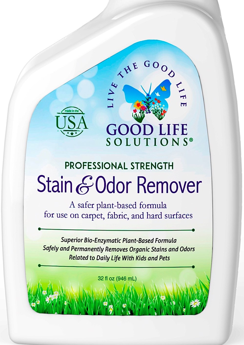 Stain Remover and Odor Eliminator - The Best Professional Strength Toddler, Dog and Cat Urine Cleaner - A Safer Plant-Based Enzyme Formula for Carpet Fabric Upholstery & Hard Floors ECO-FRIENDLY 32oz