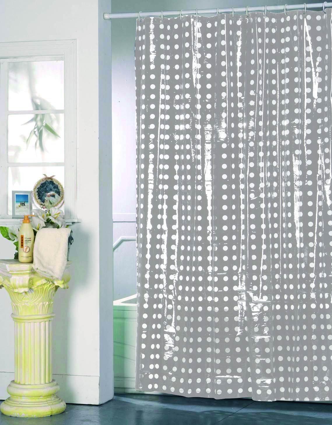 MSV 141046 - Tenda doccia, in PVC + plastica di polipropilene, colore grigio, 12 occhielli inclusi, 180 x 200 x 0,1 cm 928/141046