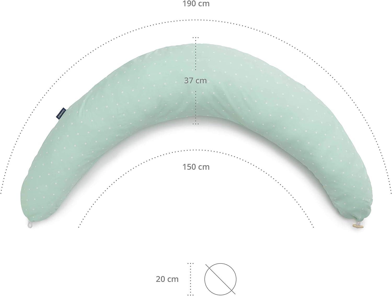 Seitenschl/äferkissen XXL 190x37 cm Abnehmbarer Bezug aus 100/% Baumwolle Lumaland Stillkissen mit verdecktem Rei/ßverschluss Seitenkissen -Beige//Braune Sterne Schwangerschaftskissen