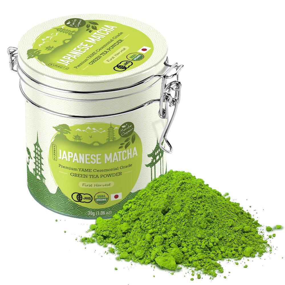 Premium Japanese Matcha Green Tea Powder - 1st Harvest Ceremonial HIGHEST Grade - USDA & JAS Organic - From Japan 30g Tin [1.06oz] - Perfect for Starbucks Latte, Shake, Smoothies & Baking by Matcha Organics