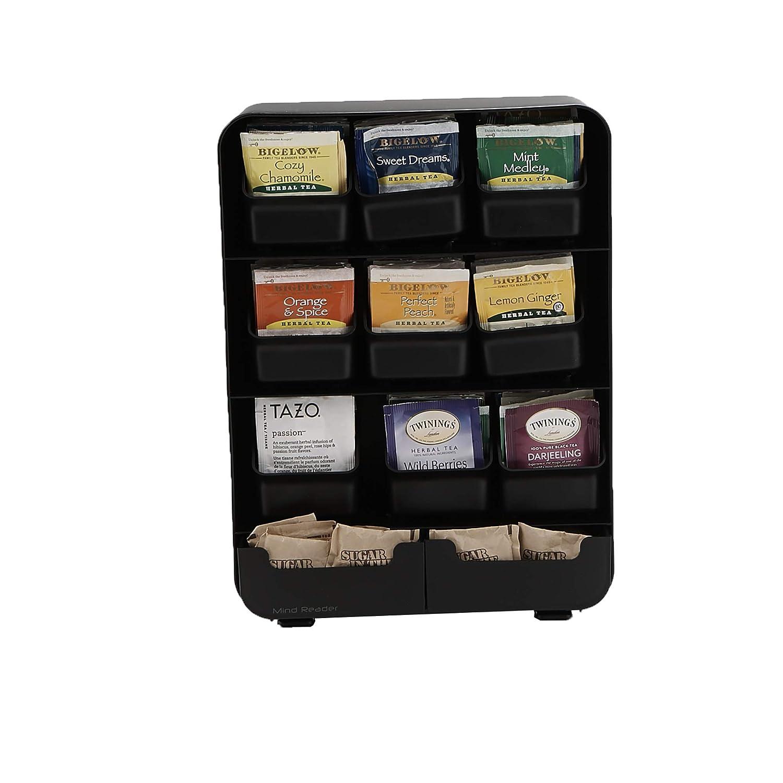Mind Reader 9 Removable Drawers Tea Bag holder and Condiment Organizer, Black