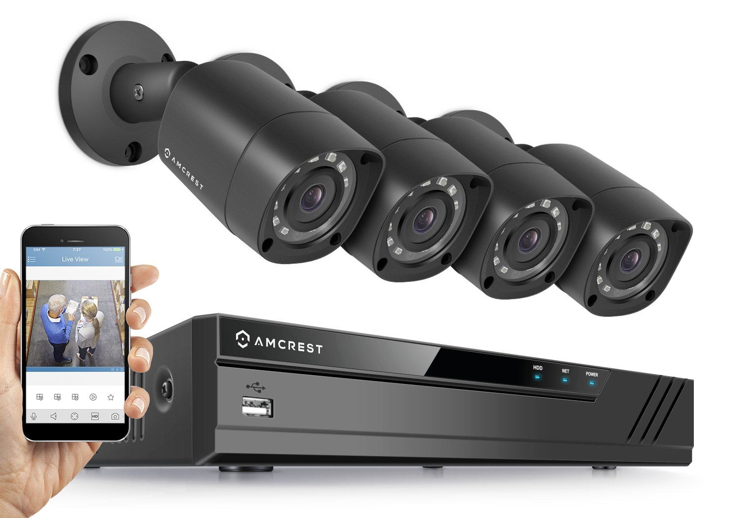 Amcrest HD 1080P-Lite 8CH Video Security Camera System w/ Four 1280TVL (720P) IP67 Outdoor Cameras, 65ft Night Vision, HDD Not Included, Supports AHD, CVI, TVI, 960H & IP Cameras (AMDVTENL8-4B-B)