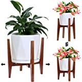 Plant Stand 2021 New Style Modern Design  Adjustable Indoor Plant Stand  Mid Century Wood Flower Pot Holder Fits 8 to 12 In