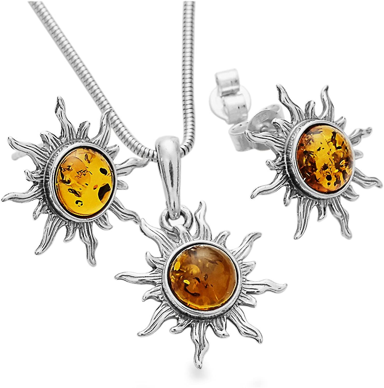 925 Silber Sonne Bernstein 4-teiliges Schmuck-Set-Kette Ohrstecker Halskette Anhaenger mit Geschenketui #1776