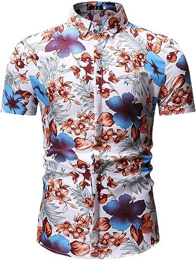 MOGU Camisa Hawaiana de Manga Corta para Hombre Fiesta Floral de Verano Clásica: Amazon.es: Ropa y accesorios
