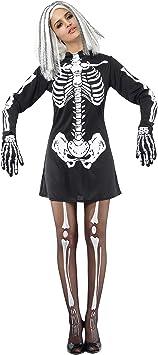 Disfraz de esqueleto para mujer ideal para Halloween Talla única ...