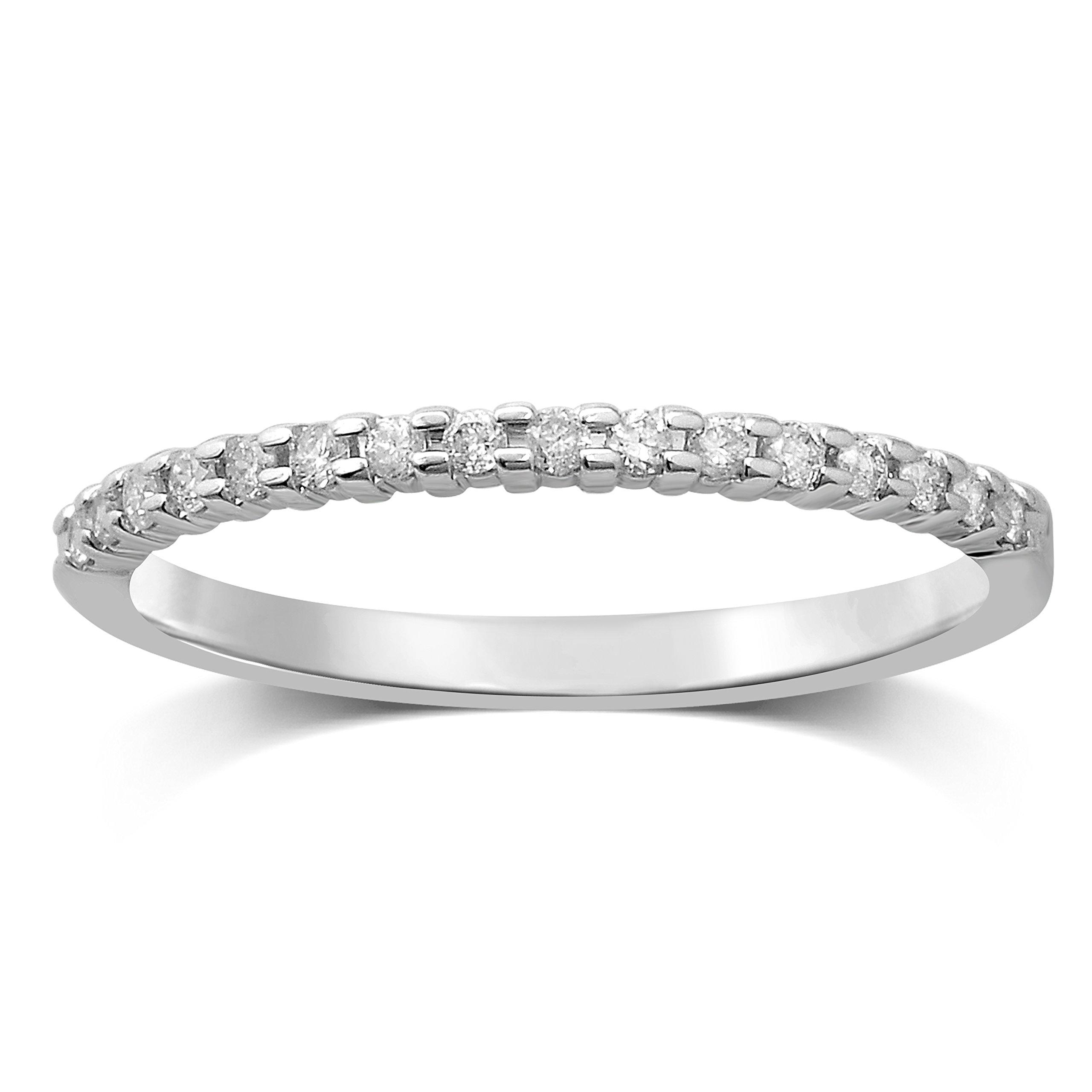Diamond Jewel 10k White Gold 1/7 cttw Diamond Stackable Ring