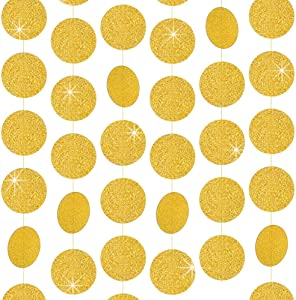RUBFAC 5pcs 65ft Paper Garland Glitter Gold Circle Dots Hanging Decorations for Birthday Party Wedding Decorations