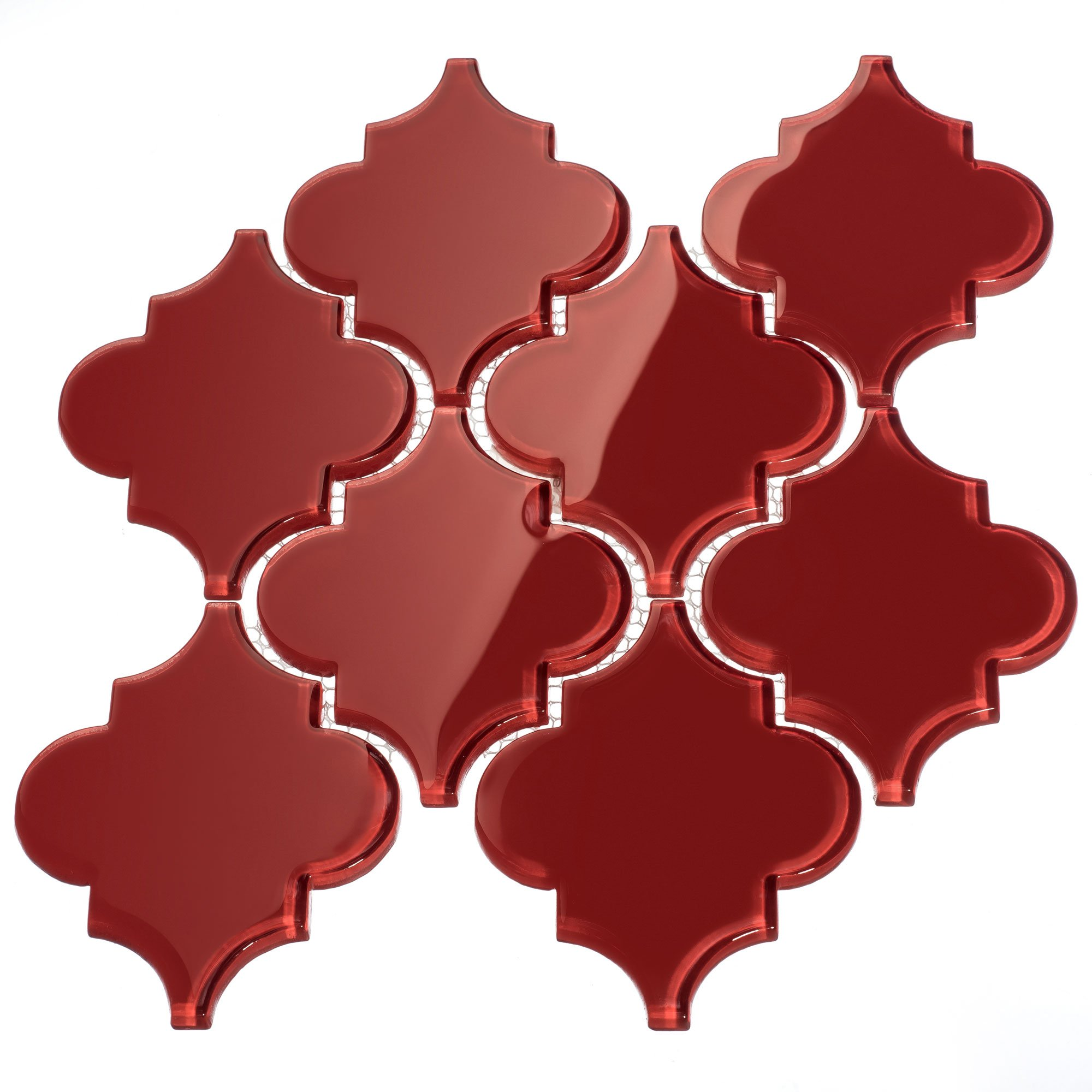 Giorbello G9130 Glass Arabesque Tile, Ruby Red