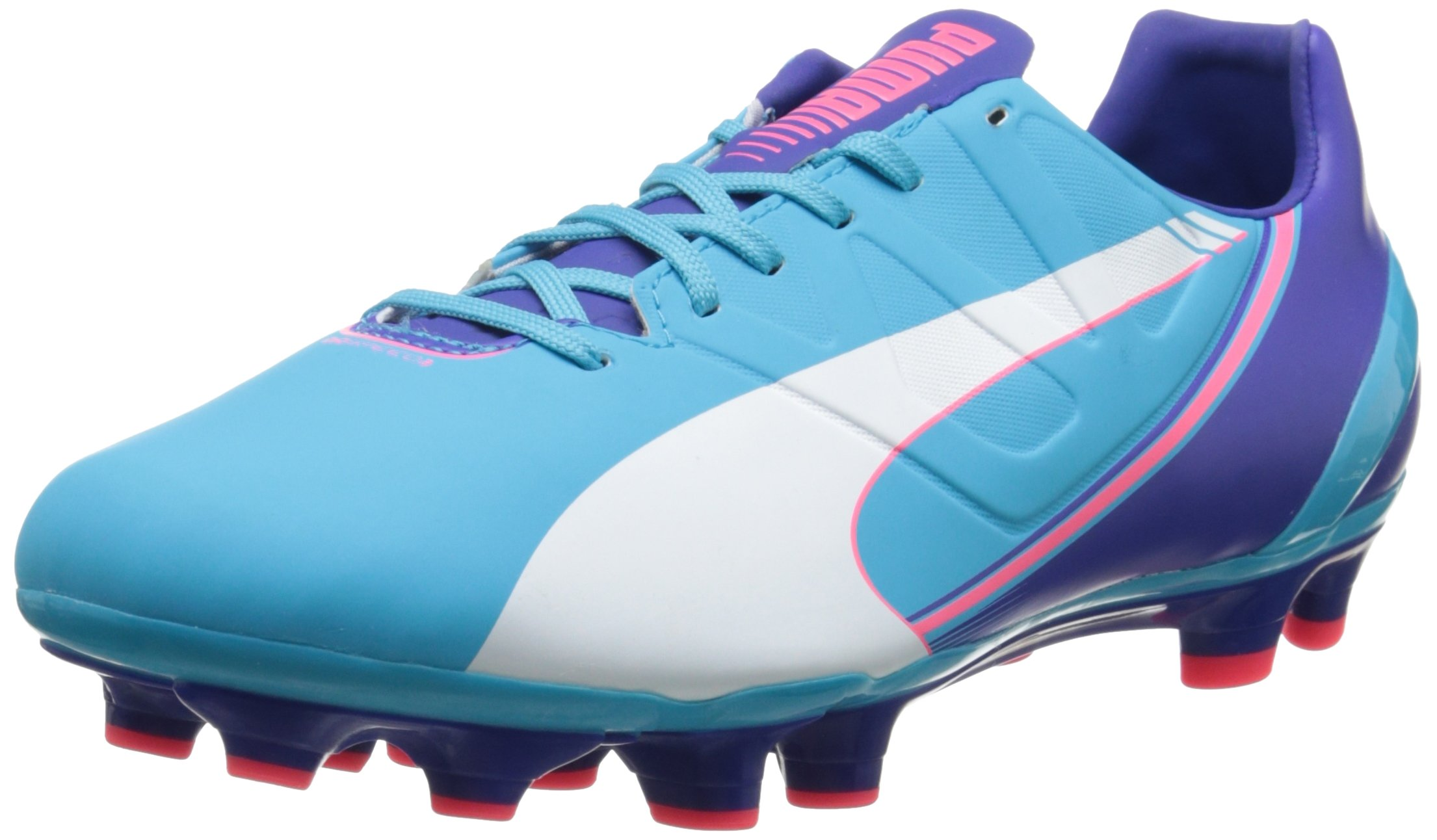 PUMA Women's Evospeed 3.FG Soccer Shoe, Blue Atoll/White/Clematis Blue/Bright Plasma, 7.5 B US
