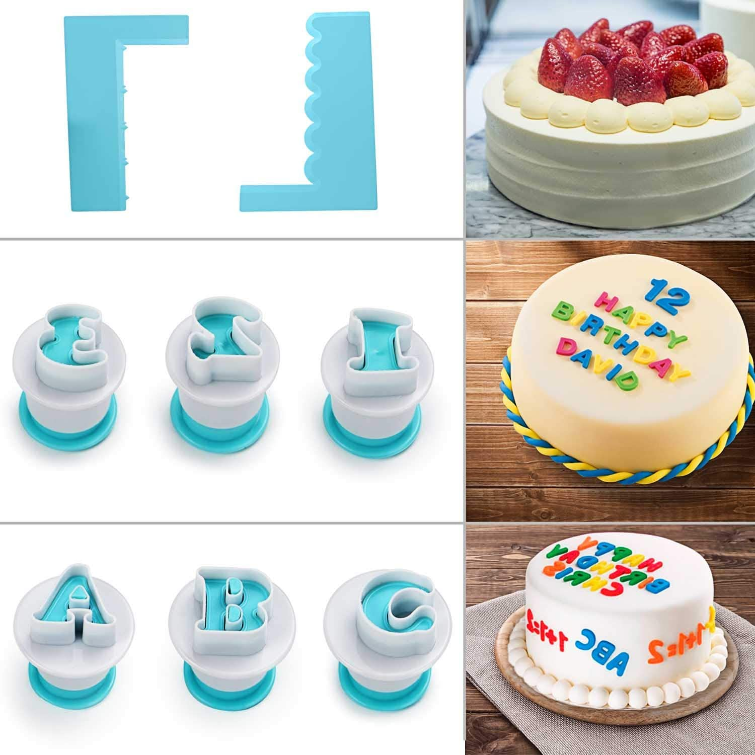 36pcs//2 Sets Alphabet and Numbers Fondant Cake Mold Cookie Stamp Impress Upper Case Numbers Shape DIY Cookie Biscuit Mold with 2 Cake Scraper and 3 Different Rectangle Cake Scraper