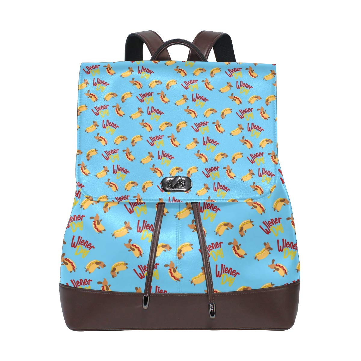 Leather Dachshund Print Yellow Backpack Daypack Elegant Ladies Travel Bag Women Men