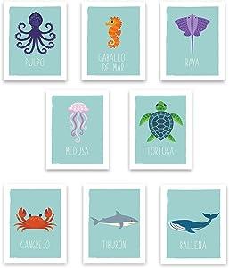 "Ocean Animals Wall Cards Spanish, Nautical Nursery Room Decor, Kids Marine, Prints for Bedroom or Classroom, Set of 8 5x7"""
