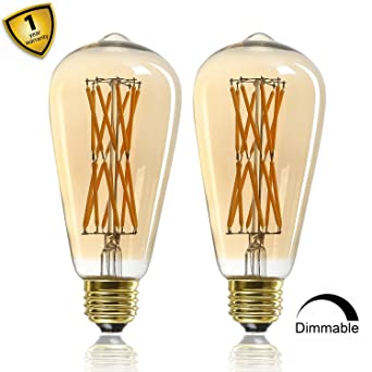 Bombilla de filamento LED estilo Edison vintage de 12 W, ST64 (ST21), bombilla LED Retro, ...