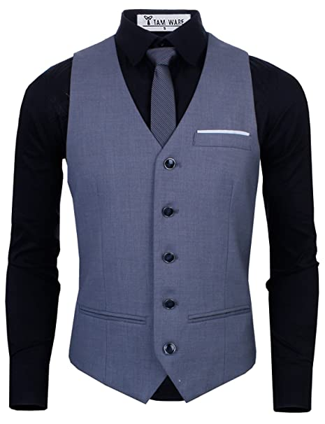 22083ca4d1f TAM WARE Men s Premium Slim Fit Fully Lined Twill Vest at Amazon Men s  Clothing store