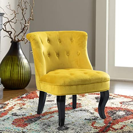 Tremendous Yellow Upholstered Chair Jane Tufted Velvet Armless Accent Chair With Black Birch Wood Legs Sunrise Yellow Squirreltailoven Fun Painted Chair Ideas Images Squirreltailovenorg