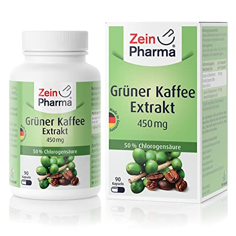 Cápsulas de extracto de Café Verde 450mg de ZeinPharma • 90 cápsulas (un mes de