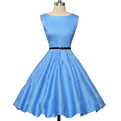 better-caress Womens 50s Vintage Summer Cotton Belt Audrey Hepburn Vestidos Plus Size London Princess