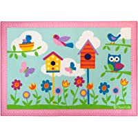 Wildkin Kids 39x58 Inch Rug for Boys and Girls, Made From Durable Nylon Material, Features Skid-Proof Backing and Serged Borders, Olive Kids, (Birdie)