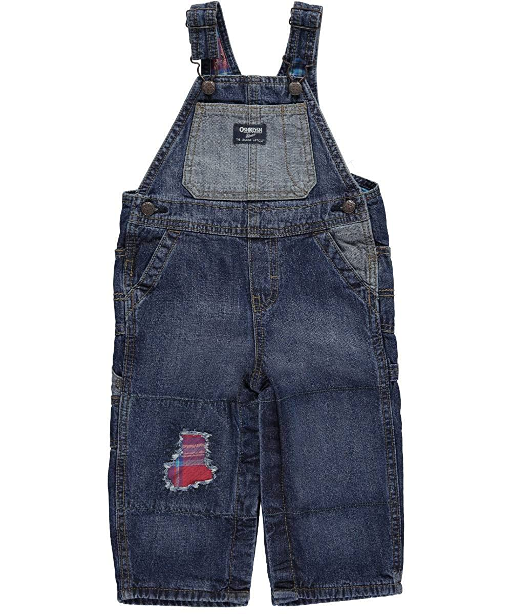 OshKosh Baby Boys' Party Plaid Flannel-Lined Overalls