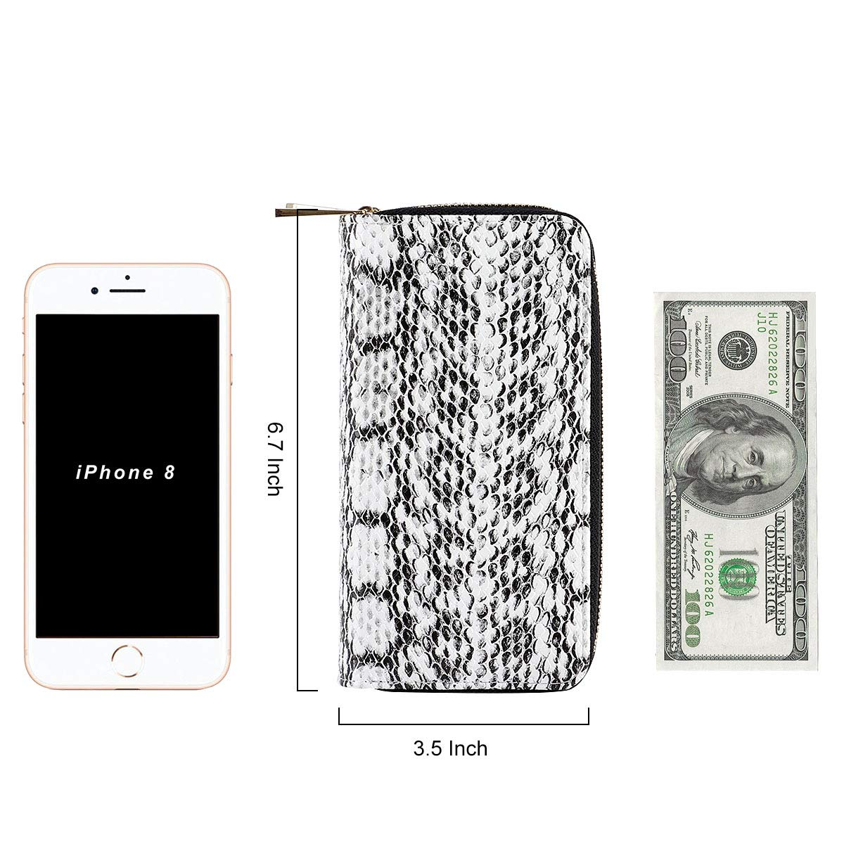 HAWEE Cellphone Wallet Dual Zipper Wristlet Purse with Credit Card Case/Coin Pouch/Smart Phone Pocket Soft Leather for Women or Lady, SnakeSkin White by HAWEE (Image #6)