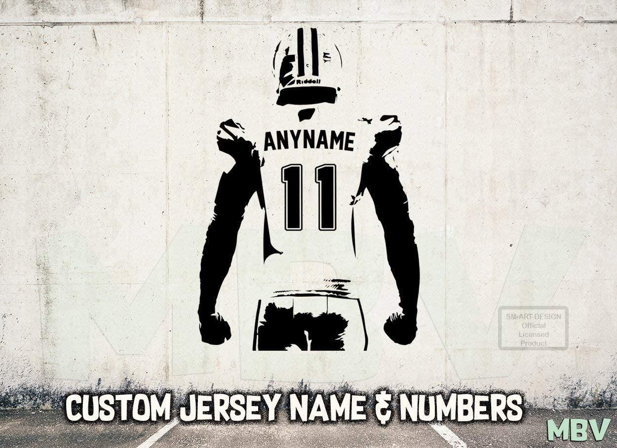 Football Wall Art - Custom Name Football Decal - American Football Wall Decor Vinyl Sticker boy Bedroom - Choose Name and Jersey Numbers Made in USA