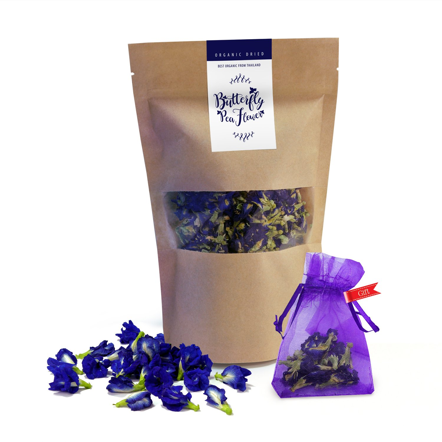 Thai Delicious Butterfly Pea Organic Dried Blue Flower Tea 1.60 oz.(50g.) (1)