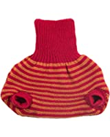 Pull on Diaper Cover for Baby Boys and Girls, 100% Organic Merino Wool Double Knit (62-68cm/ 3-6 months, Red / Orange Stripes)