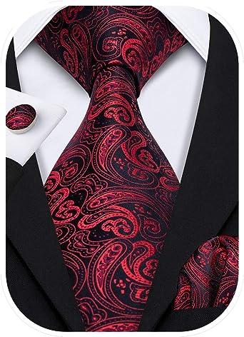 Ruder Beharrlichkeit Seite  Barry.Wang Designer - Juego de corbata, pañuelo cuadrado para bolsillo y  gemelos, para hombre, seda, diseño de Paisley Rojo Negro Rojo Talla única:  Amazon.es: Ropa y accesorios