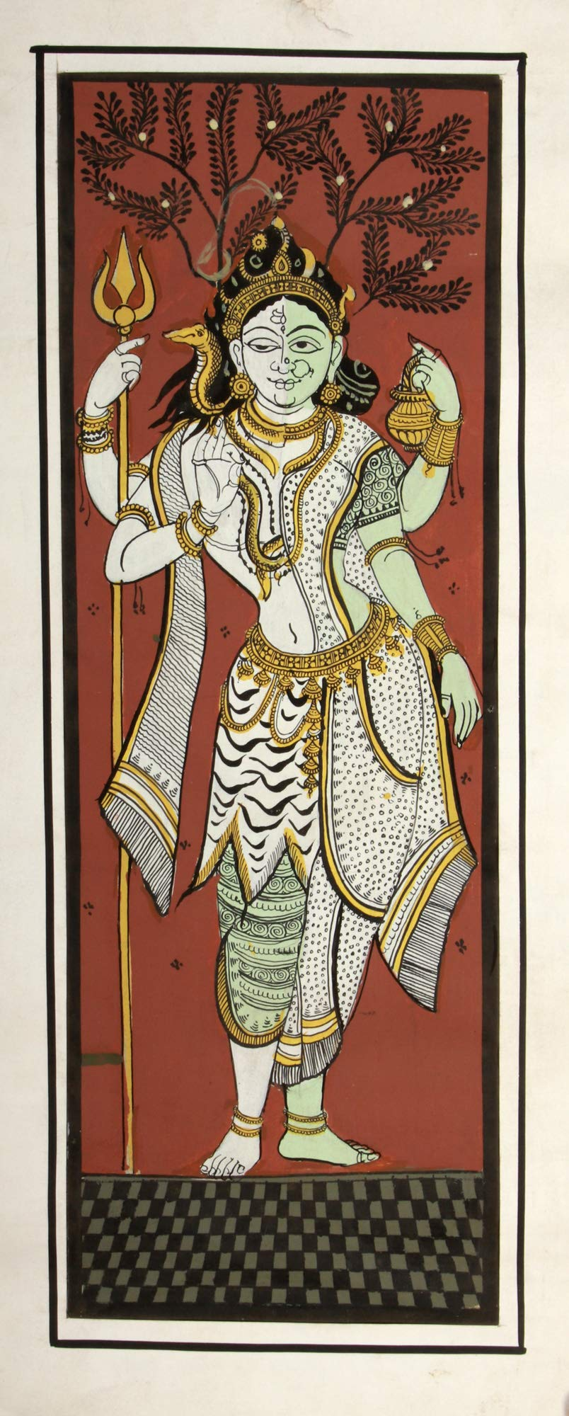 Exotic India Shiva Parvati in Ardhanarishvara Form - Water Color Painting on Silk - Folk Art From The Temple Town