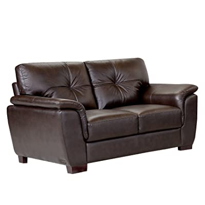 Abbyson® Oswald Two-Tone Leather Loveseat, Brown