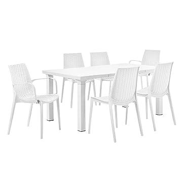 casa.pro]® Gartentisch mit 6 Stühlen - Sitzgarnitur in Rattan ...