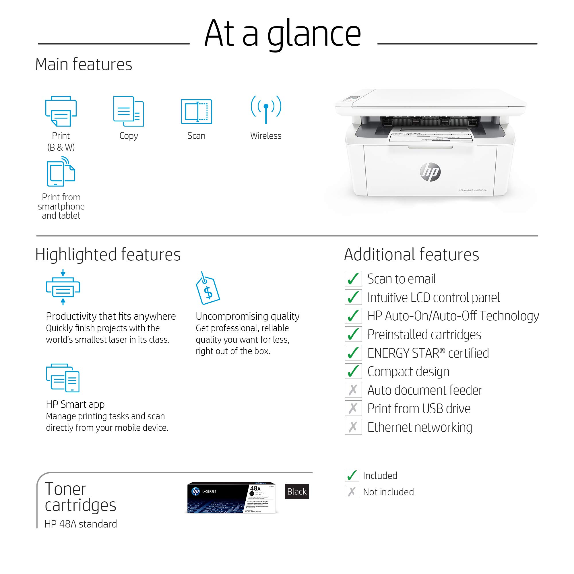 HP Laserjet Pro M31w All-in-One Wireless Monochrome Laser Printer with Mobile Printing (Y5S55A) by HP (Image #6)