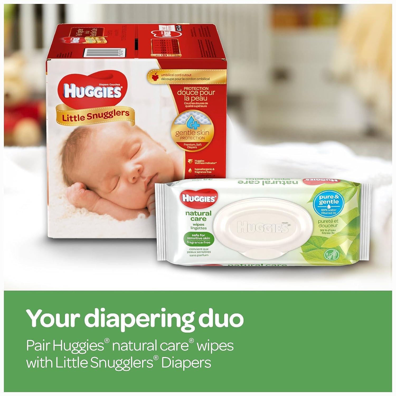 3 Packs 504 Total Wipes 9 Total Flip Top Packs Sensitive Water-Based HUGGIES Natural Care Unscented Baby Wipes