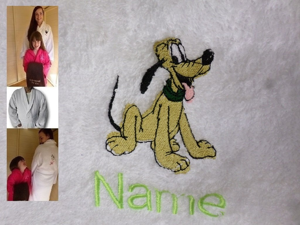 Adult Bath Robe with a PLUTO Logo and Name of your choice in White, Size Medium, Large, XLarge or XXLarge (XLarge)