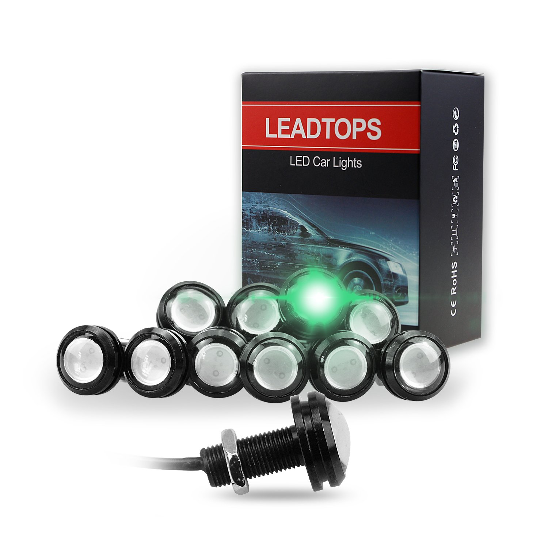 LEADTOPS 10Pcs 18mm 12V Eagle Eye LED Car Fog DRL Daytime Running Light Backup Reverse Tail (Green, Black Case) …