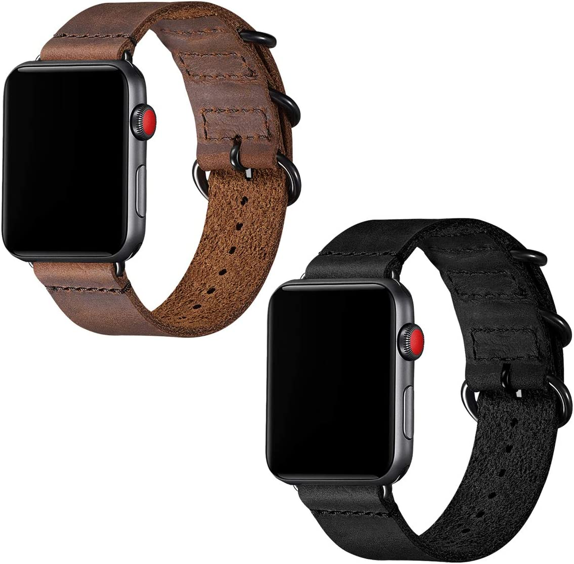Vintage Leather Bands Compatible with Apple Watch band 42mm 44mm,Genuine Leather Retro Strap Compatible for Men Women iWatch Series5 Series 4/3/2/1