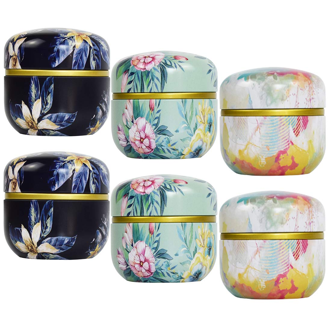 Tosnail 6 Pack Mini Tea Storage Containers Tea Tins Coffee Tins Food Storage Container for Tea, Coffee, Herb, Candy, Chocolate, Sugar, Spices, Candle