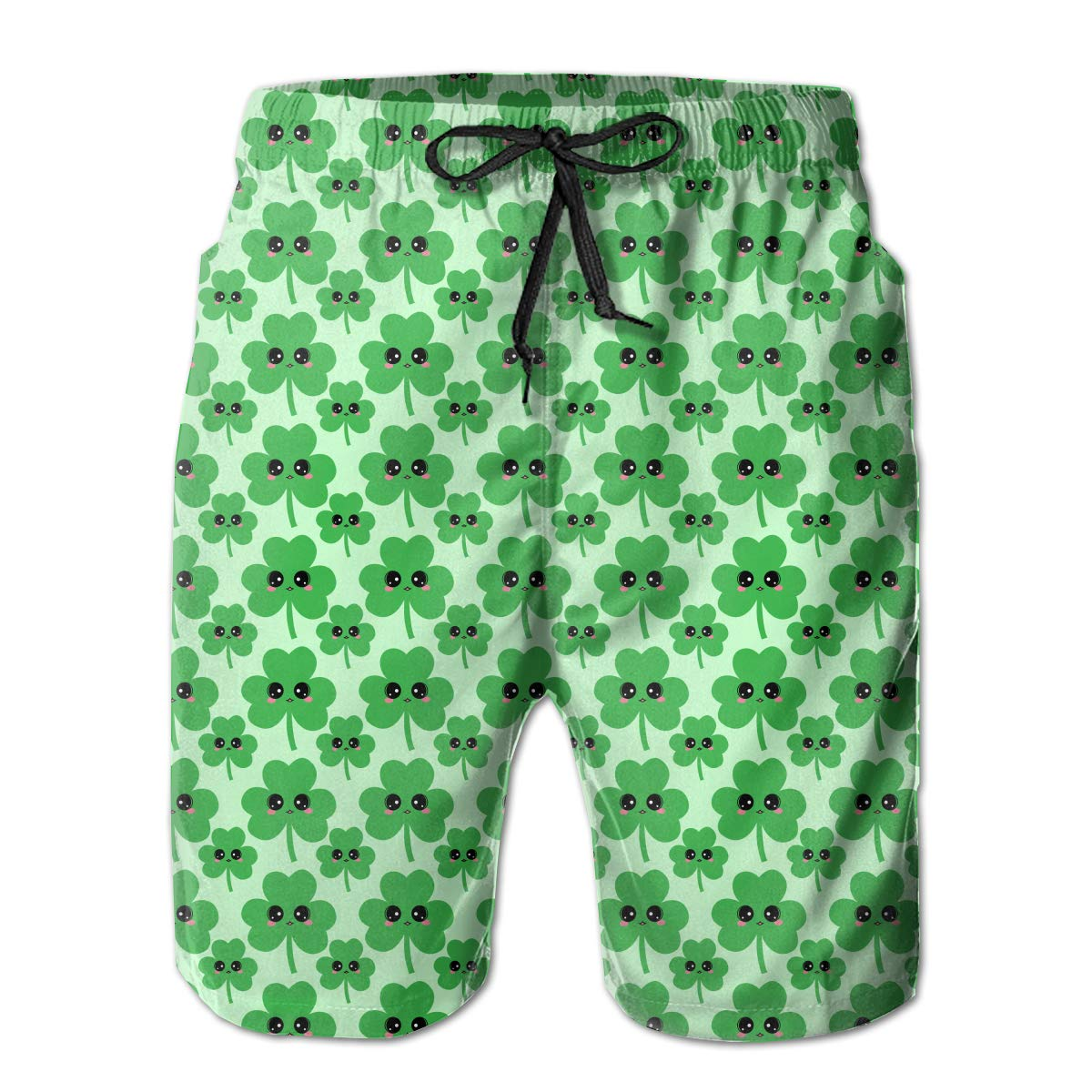 RolandraceHappy Shamrock Mens Colorful Swim Trunks Beach Board Shorts with Lining