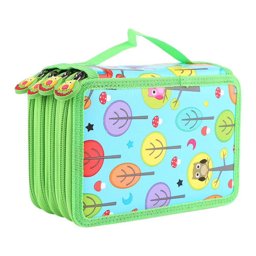 72 Insert Pencil Bag, Multi-layered Capacity Pockets Carry Case Student's Stationary Pencil Bag Children Pen Pouch Organiser for School Teenagers Girls Makeup Cosmetic Holder (Sky Blue)