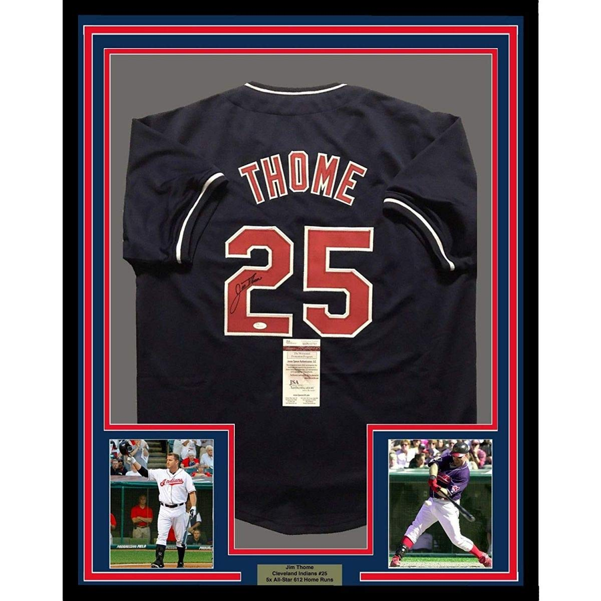 best service 693a8 35779 Framed Autographed/Signed Jim Thome 33x42 Cleveland Blue ...