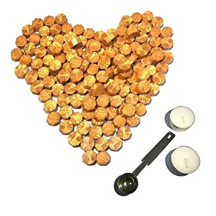 Gold Sealing Wax Beads, [Other Colors Also Available], Botokon 150 Pieces  Octagon Wax Seal Beads Kit with a Wax Melting Spoon and 2 Pieces Candles  for