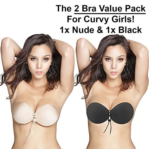 dc54acd9dce Oolala Round Bra 2-Pack Backless Strapless Sticky Bra for D DD Cup Nude  Black