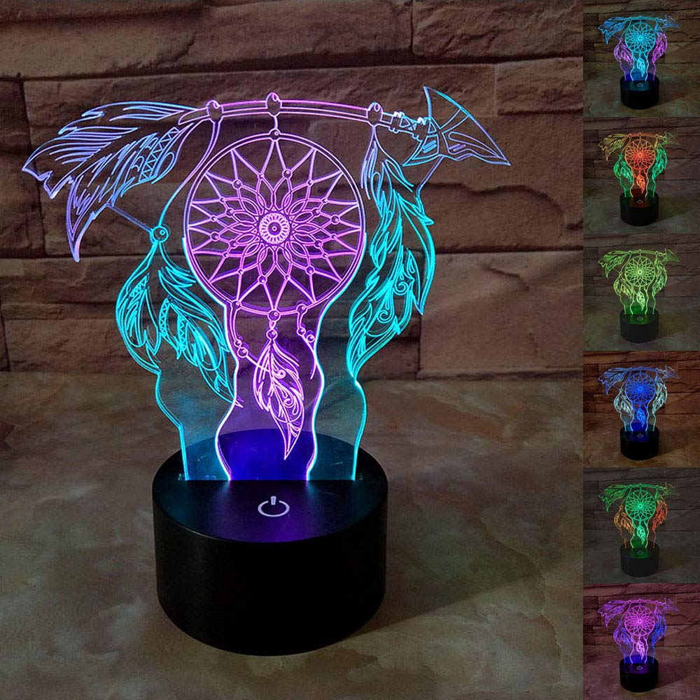 SZLTZK Christmas Gift Dual Color 3D LED Peace Catcher Night Light 7 Color Touch Switch with Battery Compartment USB Cable Table Desk Baby Nursery Lamp Home Decor Birthday Present for Kids Boy Girl