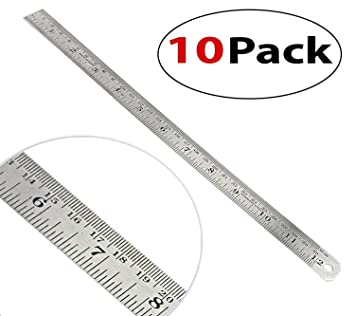 """30cm Lot of 2 Stainless Steel Quality Non-Skid Back Straight Ruler 12/"""""""