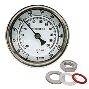 Home Brewing Distilling Dial Thermometer for Brew Kettle Pot, 3.2