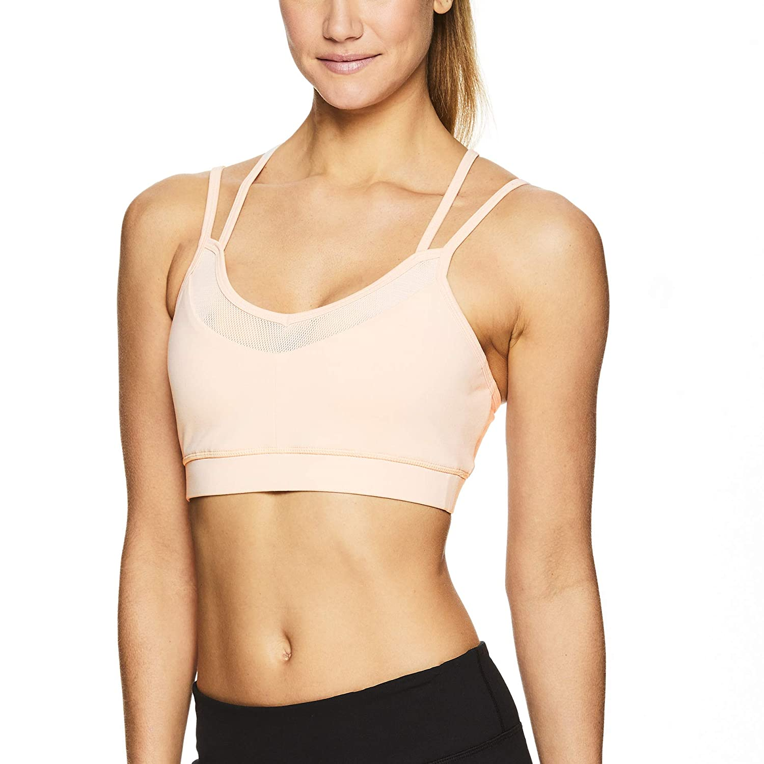 Gaiam Women's Strappy Wireless Sports Bra - Medium Impact Racerback Workout & Yoga Bralette P000476350