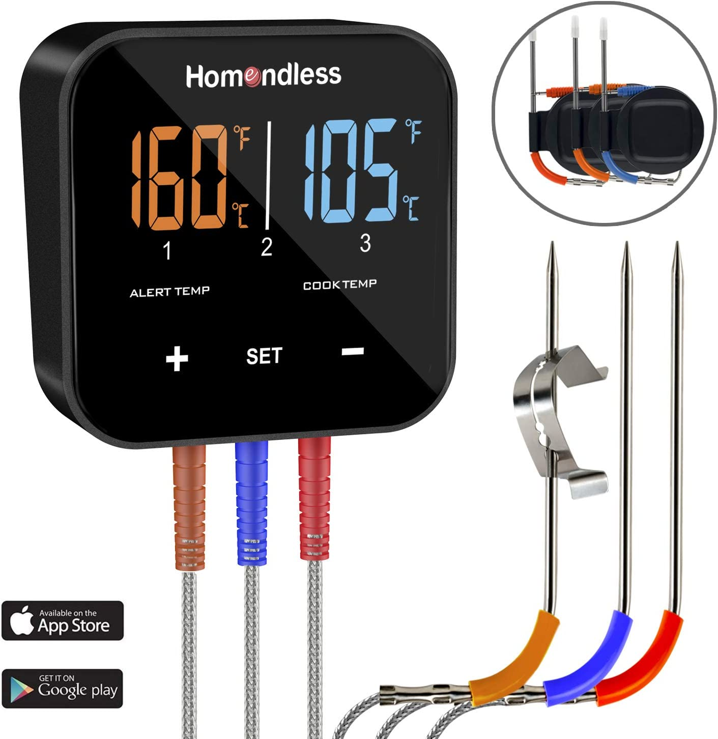 Wireless Meat Thermometer Digital Bluetooth BBQ Thermometer APP Controlled with 3 Probes, Alarm Monitor, Perfect for Grill Smoker Oven Kitchen Food Cooking, Support iOS & Android