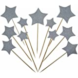 Shxstore Silver Stars Cake Cupcake Topper Picks For Wedding, Birthday, Baby Shower Party Decorations Supplies, 30 Counts
